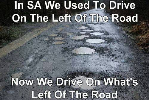 Driving on what is left of the road in Africa