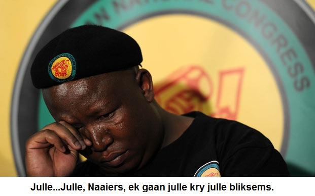 Malema crying?