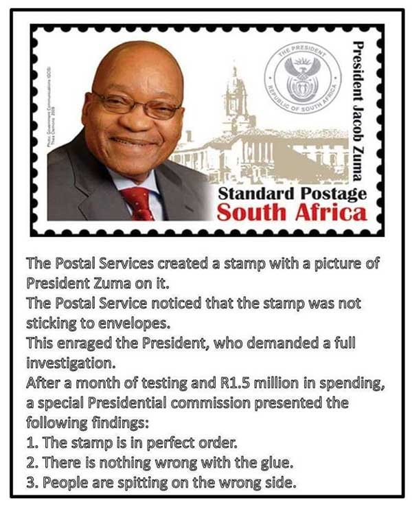 Stamp with picture of President Zuma
