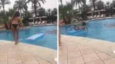 Girl's Hilarious Lilo Jump Fail